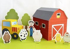 Printable farm  PDF paper craft by neskita on Etsy, $7.00 ME: I wonder if I could DIY this...