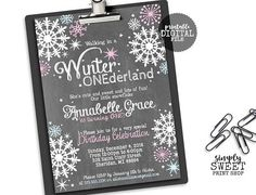 Winter ONEderland Girl Birthday Party Invite Invitation One First Wintery Pink Blue Wonderland Chalkboard Chalk White Snow Snowflakes Stars 1st Birthday Parties, Birthday Party Invitations, Girl Birthday, Birthday Ideas, Picture Banner, First Birthday Chalkboard, Printable Thank You Cards, Cupcake In A Cup, Chalkboard Poster
