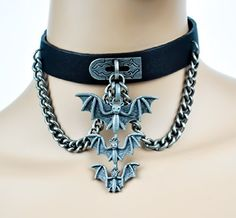 Three Hanging Vampire Bats on Chain Pleather Choker Gothic Collar