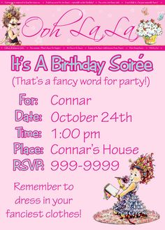 My Many Colored Days: Fancy Nancy party! Fourth Birthday, Tea Party Birthday, 6th Birthday Parties, Birthday Ideas, Princess Party Invitations, Birthday Party Invitations, Royal Tea Parties, Fancy Nancy, Bday Girl