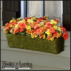 The Ashland Moss Vine Window Flower Box - A natural way to add plant life to your home! #designideas #hooksandlattice #flowerbox #moss #curbappeal