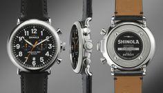 The Runwell Chrono 47mm Black Leather Strap Black Dial Watch | Shinola® $750.00