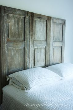 Rustic shutter headboard ...you just can't fake that patina