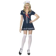 Anchors Away Navy Pleated Dress With Red Tie, White Sailor Cap $21.23