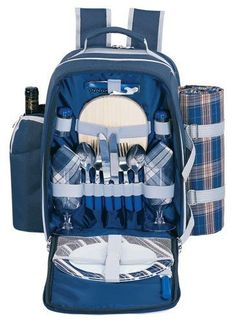 Sutherland Baskets Alpine Blue Picnic Backpack for Two -   - Click image twice for more info - See a larger selection of blue  backpacks at http://kidsbackpackstore.com/product-category/blue-backpacks/ - kids, juniors, back to school, kids fashion ideas, teens fashion ideas, school supplies, backpack, bag , teenagers girls , gift ideas, blue