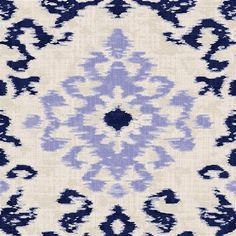 """Navy and Lavender Ikat Damask Fabric by Carousel Designs.  Navy and lavender ikat damask fabric printed on antique white background. Fabric is cut to order in one continuous piece. This is a 100% cotton, 54"""" wide, medium weight fabric."""