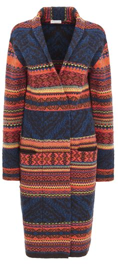Fab Southwestern sweater-coat with lots of great Pantone fall colors like Reflecting Pond, Cadmium Orange, marsala ... see clothing ideas and cool outfits for fall... with fashion tips (read article)