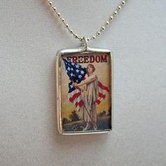 Solder Glass Necklace  Vintage Art Soldered by mysweetseptember