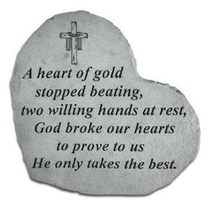 A Heart Of Gold Stopped Beating Heart Shaped Memorial Stone - Crucifix Engraving - 8504
