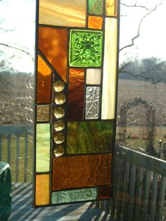 Geometric Stained Glass Green Prairie Panel. $36.00, via Etsy.