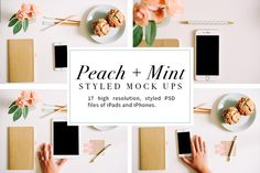 Peach + Mint Styled Tech Mock-Ups  @creativework247