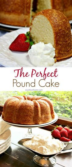 Perfect Pound Cake is buttery and sweet, with a hint of vanilla. This cake is rich, with the flavor of shortbread cookies, but is still light as a feather. Serve with fresh whipped cream and berries as a fancy dessert or brunch dish - can also be made ahe Fancy Desserts, Just Desserts, Delicious Desserts, Dessert Recipes, Recipes Dinner, Easy Recipes, Parfait Recipes, Healthy Recipes, Perfect Pound Cake Recipe