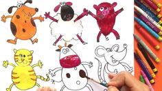 Teach Drawing Animals to Kids, Painting Farm Animals, Worm and Coloring Pages
