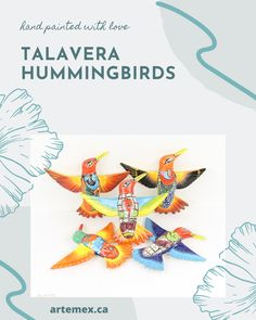 These hand painted Talavera hummingbirds will make a lovely addition to your home decor, or as a gift for any bird lover! Mexican Home Decor, Any Birds, Hummingbirds, Beautiful Patterns, Home Decor Items, Vibrant Colors, Hand Painted, How To Make, Gifts