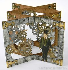 shelly hickox accordion steampunk card open view for ECD using Karen Burniston's dies; May 2015