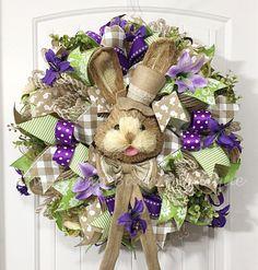Easter Wreath, Mesh Easter Wreath, Easter Rabbit Wreath, Easter Bunny Wreath, Floral Easter Wreath, Easter Decor, Spring Decor, Mesh Spring by CharmingBarnBoutique on Etsy