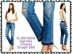 DL1961 Nettle High Rise Cropped Straight: DL's new high rise cropped straight combines the comfort of a high rise with the traditional tailoring of a straight leg fit, for a wearable and sleek silhouette.  Available size 24-31 #DL1961 #nettle