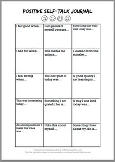 Positive Self-Talk Journal Free Printable - Moments A Day # self esteem activities for kids Positive Self-Talk Journal Free Printable - Moments A Day Self Esteem Worksheets, Self Esteem Activities, Therapy Worksheets, Counseling Activities, School Counseling, Social Work Activities, Counseling Worksheets, Group Therapy Activities, Coping Skills Activities