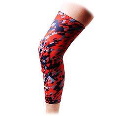 COOLOMG 1 Piece Basketball Knee Pads For Kids Youth Adult Long Leg Knee Sleeves EVA Protector Gear Digital Camo Red Black Medium