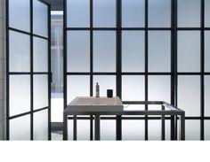 Bromont house - 2012 - Paul Bernier architecte Like opaque glass bathroom wall - idea for master?