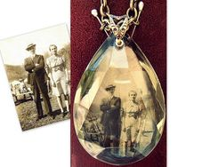 Personalized Photo Jewelry - Custom Velvet Backed Photo Necklace - Mother's Day Gift, Wedding, Baby, Military - Vintage Chandelier Prism