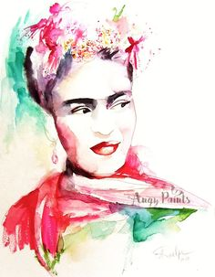 Frida Kahlo Watercolor Painting Frida Kahlo Painting by AngyPaints