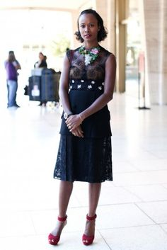 Lady Lace - Creative director of Garage magazine Shala Monroque wears a Rodarte dress and vintage staement necklace
