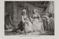 Γυναίκες της Σαντορίνης. Εικονίζονται οι αδελφές του ρωμαιοκαθολικού επισκόπου Θήρας Πιέτρο Ντελέντα. Πρωτότυπος τίτλος Femmes de l'isle de Santorin. Χρονολογία έκδοσης 1782 Έκδοση CHOISEUL-GOUFFIER, Gabriel Florent Auguste de. Voyage pittoresque de la Grèce, Παρίσι, J.-J. Blaise M.DCC.LXXXII, [=1782]. www.travelogues.gr