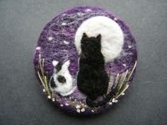 Hand Made Needle Felted Brooch/Gift Look at the Moon by Tracey Dunn