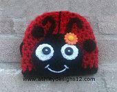 Crochet Pattern - Ladybug Beanie, Hat (Newborn - 10 Years)