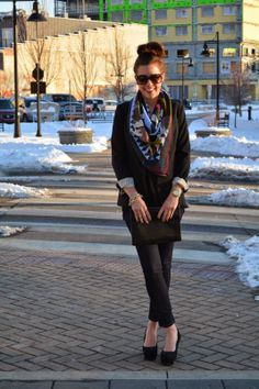 Winter blazer and colorful scarf