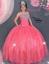 Hot Coral Quinceanera Dress #10186JES