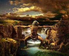hans peter kolb fantasy landscape eagle bridge