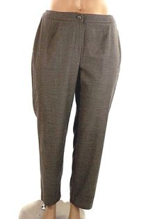 Jones New York Heather Brown Dress Pants Stretch Tappered Leg Women's Size 14W…