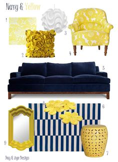 bedroom - Navy & Yellow