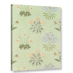 Bungalow Rose Daisy Design Wallpaper with Lily of the Valley and Other Wild Flowers on a Willow Background, 1862 Graphic Art on Wrapped Canvas Size...