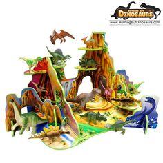 Lontic Dinosaur Park Playset With T-Rex Triceratops Stegosaurus Spinosaurus Brachiosaurus Megaraptor Parasauropholus Dino Toy Figures | Nothing But Dinosaurs