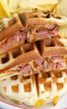 Ham & Cheese Waffle Sandwiches