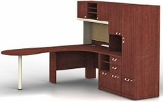 """QUANTUM HARVEST CHERRY QUANTUM 008 SUITE LEFT (HARVEST) by Bush Office Solutions. $2062.18. 1 - QT0465CS 47"""" Right Corner Shell. 30"""" Storage File includes two box drawers, a lateral file drawer for letter- or legal-size files, and an open compartment with a removable shelf. This bundle contains:. Peninsula has a rounded end for guest seating. Wire management system to help keep wires and cords neat. Quantum 008 Bundle Left (Harvest)Some assembly may be required...."""