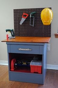Work bench made from an old nightstand!
