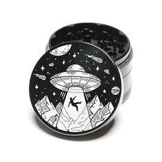 Laser Engraved Herb Grinder Beam Me Up Space Aliens 4 Piece
