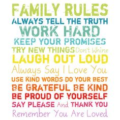 Family Rules Wall Art in Rainbow