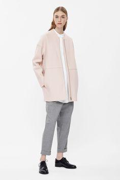Raw-edge wool coat
