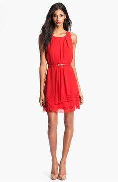 Jessica Simpson Tiered Eyelet Crêpe de Chine Dress available at #Nordstrom
