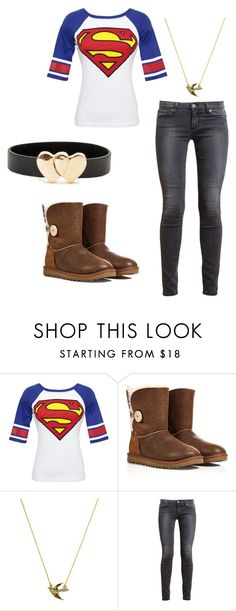 """Blue-Study"" by zoeyshy ❤ liked on Polyvore featuring Bioworld, UGG Australia, Juicy Couture and Paige Denim"