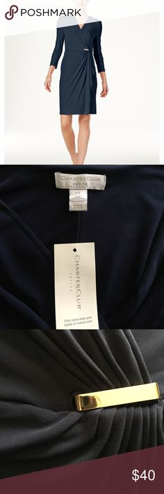 NWT Charter Club Wrap Dress Beautiful well made dress in Intrepid Blue. Super soft, flowy, durable, and comfortable. Perfect for any occasion. Faux Crossover silhouette with Metallica hardware detail. Three-quarter sleeves. Splice neckline. Machine washable. Charter Club Dresses Midi