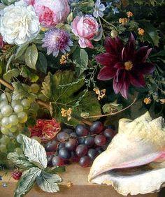 Gabriel Henriques de Castro Still Life with Flowers, Shell and Bird Nest, detail 1835
