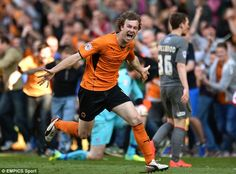 Kevin McDonald celebrates scoring Wolves 6th goal in the last minute of injury time to end one of the greatest games of football in Wolves FC history - Wolves 6 v 4 Rotherham