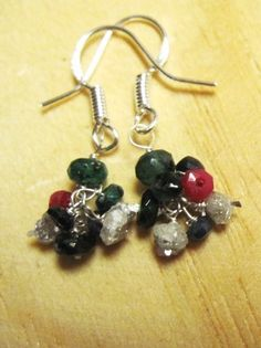 Diamond Ruby Sapphire  Emerald Earring Clusters by Created2Inspire, $105.00