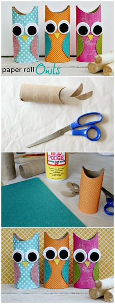 Toilet Paper Roll Crafts - Get creative! These toilet paper roll crafts are a great way to reuse these often forgotten paper products. You can use toilet paper rolls for anything! creative DIY toilet paper roll crafts are fun and easy to make. Kids Crafts, Owl Crafts, Cute Crafts, Toddler Crafts, Projects For Kids, Diy For Kids, Easy Crafts, Craft Projects, Easy Diy